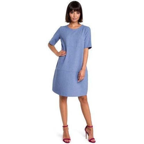 Suknie i sukienki, Niebieska Casualowa Sukienka Bombka przed Kolano