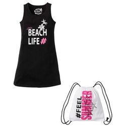 Sukienka dziewczęca + torebka sportowa (2 części) bonprix czarny