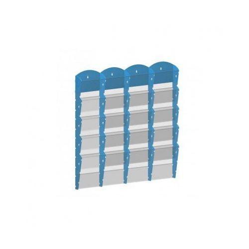 Ramy,stojaki i znaki informacyjne, Plastikowy uchwyt ścienny na ulotki - 4x5 A4, niebieski