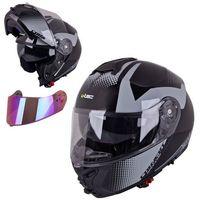 Kaski motocyklowe, Kask motocyklowy szczękowy z blendą W-TEC FS-907 + szybka, Black Matt, S (55-56)