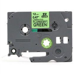 Taśma Brother TZe-D31 12mm x 5m fluorescencyjna zielona czarny nadruk - zamiennik | OSZCZĘDZAJ DO 80% - ZADZWOŃ!
