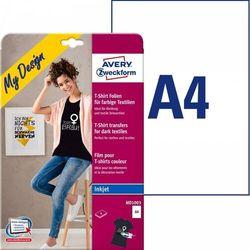 Folie do wprasowywania na kolorowe tkaniny A4 4ark. folii transferowej + 4ark. papieru silikonowego Avery Zweckform