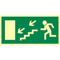 Kierunek do wyjścia drogi ewakuacyjnej schodami w dół w lewo (znak uzupełniający)