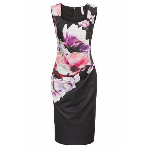 Suknie i sukienki, Sukienka ołówkowa w kwiaty bonprix czarno-lila-jasnoróżowy
