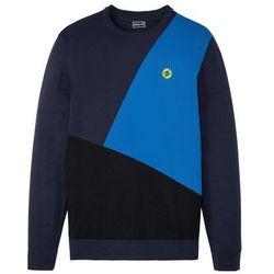 Sweter z okrągłym dekoltem bonprix ciemnoniebieski w graficzny wzór