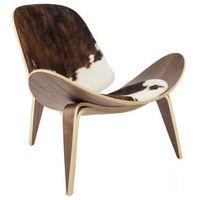 Krzesła, Krzesło inspirowane proj. Shell Chair - pony brązowe łaty