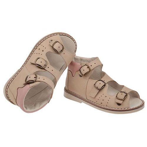 Buty profilaktyczne dla dzieci, Sandałki Profilaktyczne Ortopedyczne POSTĘP BS-29 - Multikolor   Beżowy   Różowy