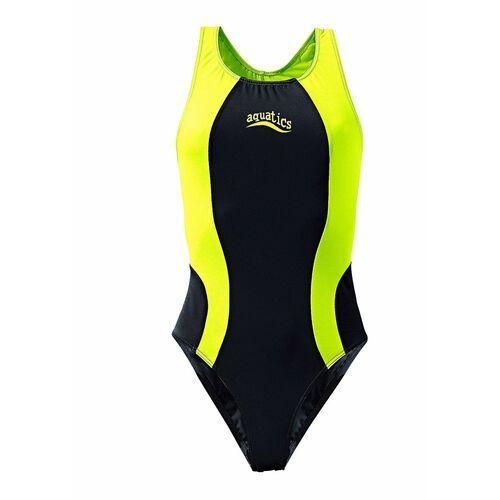 Stroje kąpielowe dla dzieci, Strój kąpielowy dziewczęcy bonprix czarno-żółty neonowy
