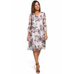 S214 Sukienka szyfonowa z obniżoną linią talii - model 1