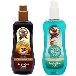 Australian Gold Spray Gel Bronzer SPF30 and Aloe Freeze Spray | Zestaw do opalania: spray do opalania z bronzerem 237ml + chłodzący spray po opalaniu 237ml