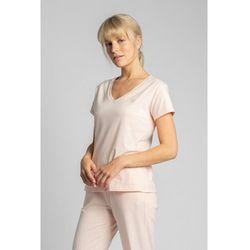 LA014 T-shirt do spania z dekoltem w serek - brzoskwiniowy