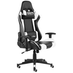 Czarno-biały obrotowy fotel gamingowy - Grando