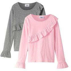 Shirt dziewczęcy z długim rękawem i falbanami (2 szt.) bonprix pudrowy jasnoróżowy + szary melanż