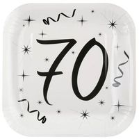 Naczynia jednorazowe, Talerzyki na siedemdziesiąte urodziny - 23 cm - 10 szt.