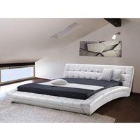 Łóżka, Nowoczesne skórzane łóżko 160x200 cm - LILLE białe