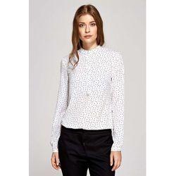 Koszulowa Bluzka Polo z Niską Stójką - Wzór Ecru
