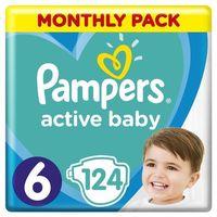 Pieluchy jednorazowe, PAMPERS Active Baby 6 EXTRA LARGE 124 szt. (15+ kg) ZAPAS NA MIESIĄC - pieluchy jednorazowe