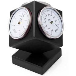 Nowoczesna stacja pogody Fischer - czarna kostka 4401-06 - barometr, higrometr, termometr
