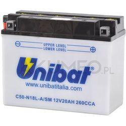Akumulator UNIBAT C50-N18L-A/SM 12V 20Ah 260A prawy+ oL