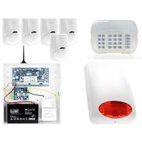 Zestawy alarmowe, ZA12542 Zestaw alarmowy DSC 5x Czujnik ruchu Manipulator LED Powiadomienie GSM