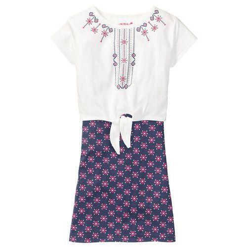 Zestawy odzieżowe dziecięce, Sukienka + wiązany shirt (2 części) bonprix niebieski indygo z nadrukiem