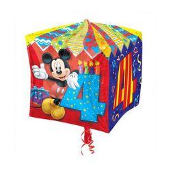 Balon foliowy Sześcian Myszka Mickey na 4 urodziny - 38 cm - 1 szt.