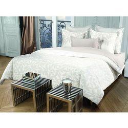 Pościel AZZARO z bawełnianego perkalu SOLSTICE - poszwa na kołdrę 240 x 200 cm + 2 poszewki na poduszkę 65 x 65 cm - Kolor taupe i biały