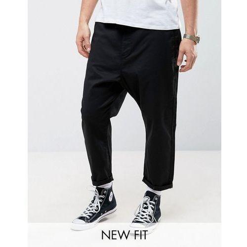 Spodnie męskie, ASOS Oversized Tapered Chino in Black - Black