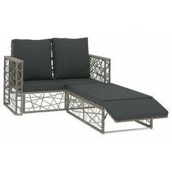 vidaXL 2-cz. zestaw wypoczynkowy do ogrodu, poduszki, rattan PE, szary