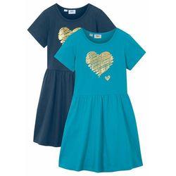 Sukienka dziewczęca z dżerseju, krótki rękaw (2 szt.) bonprix ciemnoniebieski + turkusowy