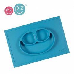 EZPZ - Silikonowy talerzyk z podkładką 2w1 Happy Mat - niebieski