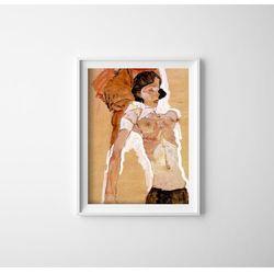 Plakat w stylu vintage Plakat w stylu vintage Egon Schiele Semi Nude Reclining