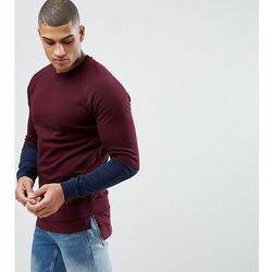 ASOS TALL Sweatshirt With Hem Extender And Contrast Sleeves In Burgundy - Red