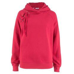 Bluza z kapturem i sznurowaniem bonprix czerwony