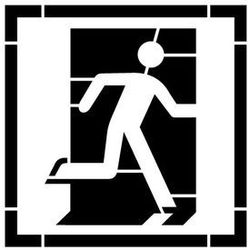 Szablon do malowania Znak wyjście ewakuacyjne prawo lub lewostronne AE002 - 15x15 cm