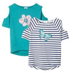 T-shirt dziewczęcy z wycięciami na ramionach (2 szt.) bonprix niebieski w paski + zielony morski