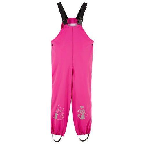 Spodnie dziecięce, Spodnie dziewczęce przeciwdeszczowe na szelkach bonprix różowa magnolia