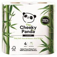 Papier toaletowy, Papier toaletowy bambusowy trzywarstwowy 4 rolki w folii - Cheeky Panda