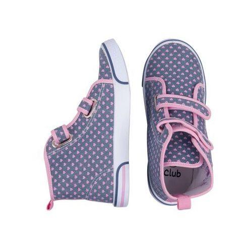 Buty sportowe dla dzieci, Trampki w serduszka na rzepy wysokie 27