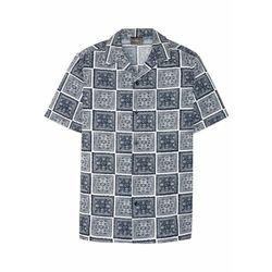 Koszula z krótkim rękawem i nadrukiem bonprix biało-ciemnoniebieski z nadrukiem
