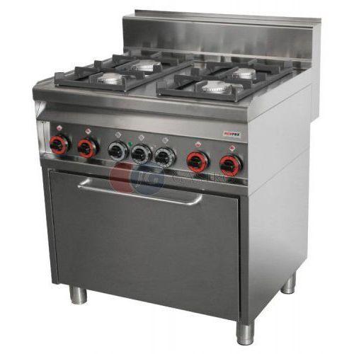 Piece i płyty grzejne gastronomiczne, Kuchnia gazowa wolnostojąca 4-palnikowa z piekarnikiem gazowym Red Fox linia 700 CFE4 - 8 G