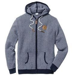 Sweter rozpinany Regular Fit bonprix ciemnoniebiesko-biały