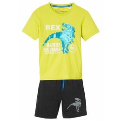 T-shirt chłopięcy z obracanymi cekinami + krótkie spodenki (2 części) bonprix zielona limonka + antracytowy melanż