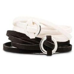 Komplet bransoletek zawijanych na ręce (2 części) bonprix czarno-beżowy