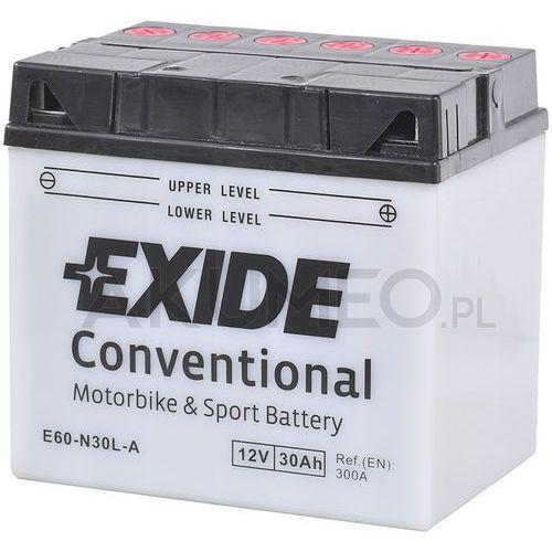Akumulatory do motocykli, Akumulator EXIDE Conventional E60-N30L-A 12V 30Ah 300A prawy+ oL