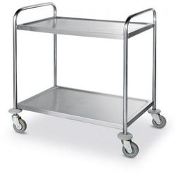 Wózek kelnerski 2-półkowy ze stali nierdzewnej | 590x900x(H)930mm