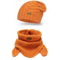 Zimowy komplet dziewczęcy PaMaMi- czapka i chusta - Pomarańczowy