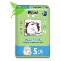 Pieluchy jednorazowe, MUUMI Baby Walkers Pieluchy 5 Maxi+ 40szt pieluchomajtki hipoalergiczne i ekologiczne (7-15kg)