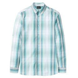 Koszula w kratę z długimi wywijanymi rękawami bonprix biel wełny - zielony w kratę