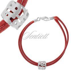 Srebrna bransoletka pr.925 na pasku czerwonym ABrh- - Czerwony